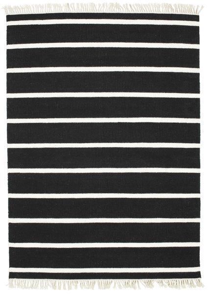 Dorri Stripe - Negru/White Covor 140X200 Modern Lucrate De Mână Negru (Lână, India)