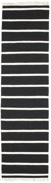 Dorri Stripe - Negru/White Covor 80X300 Modern Lucrate De Mână Negru/Bej-Crem (Lână, India)