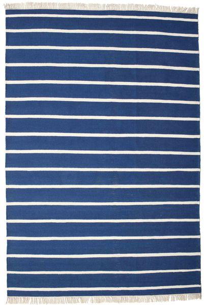 Dorri Stripe - Albastru Închis Covor 220X320 Modern Lucrate De Mână Albastru Închis/Albastru (Lână, India)