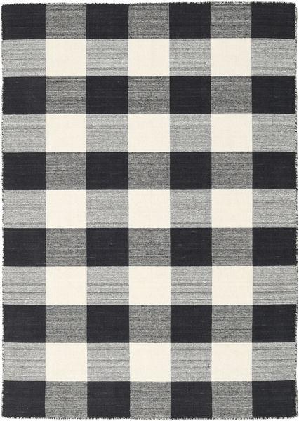 Check Kilim - Negru/White Covor 140X200 Modern Lucrate De Mână Gri Închis/Gri Deschis (Lână, India)