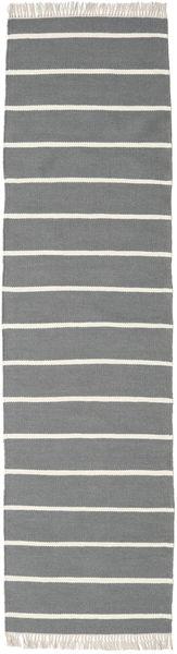 Dorri Stripe - Gri Covor 80X300 Modern Lucrate De Mână Gri Deschis/Gri Închis (Lână, India)
