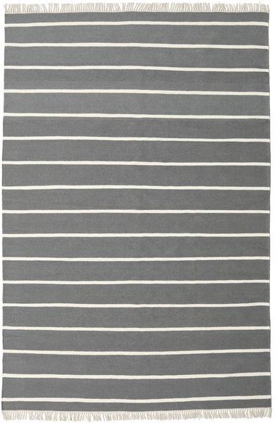 Dorri Stripe - Gri Covor 200X300 Modern Lucrate De Mână Gri Închis/Verde Închis (Lână, India)