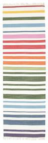 Rainbow Stripe - White Covor 80X250 Modern Lucrate De Mână Bej/Bej-Crem (Bumbac, India)