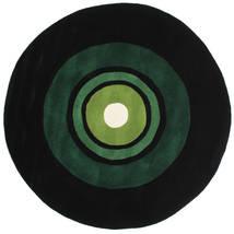 Schallplatte Handtufted Covor Ø 150 Modern Rotund Verde Închis (Lână, India)