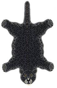 Leopard - Negru Covor 100X160 Modern Gri Închis (Lână, India)