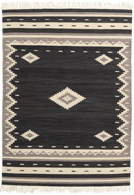 Tribal - Negru Covor 140X200 Modern Lucrate De Mână Negru/Bej (Lână, India)