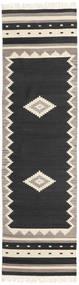 Tribal - Negru Covor 80X300 Modern Lucrate De Mână Negru/Gri Deschis (Lână, India)