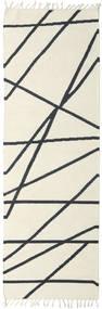 Cross Lines - Alburiu/Negru Covor 80X350 Modern Lucrate De Mână Bej/Gri Închis (Lână, India)
