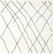 Shaggy Tangier - White/Gri Închis Covor 250X250 Modern Pătrat Bej/Bej-Crem Mare ( Turcia)