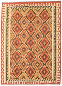 Chilim Afghan Old Style Covor 178X242 Orientale Lucrate De Mână Portocaliu/Bej Închis (Lână, Afganistan)