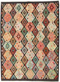 Chilim Afghan Old Style Covor 216X291 Orientale Lucrate De Mână Maro Închis/Bej Închis (Lână, Afganistan)