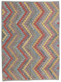Chilim Afghan Old Style Covor 181X247 Orientale Lucrate De Mână Gri Închis/Gri Deschis (Lână, Afganistan)