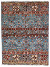 Sharbargan Covor 106X143 Modern Lucrat Manual Maro Închis/Albastru (Lână, Afganistan)