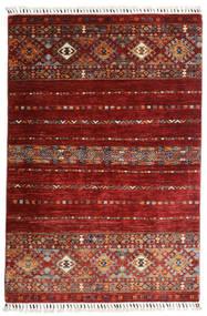 Shabargan Covor 102X152 Modern Lucrat Manual Roșu-Închis (Lână, Afganistan)