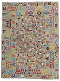 Chilim Afghan Old Style Covor 171X227 Orientale Lucrate De Mână Gri Deschis/Gri Închis (Lână, Afganistan)