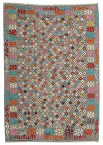 Chilim Afghan Old Style Covor 168X236 Orientale Lucrate De Mână Gri Deschis/Gri Închis (Lână, Afganistan)