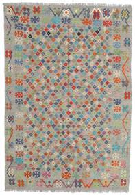 Chilim Afghan Old Style Covor 176X255 Orientale Lucrate De Mână Gri Deschis/Gri Închis (Lână, Afganistan)