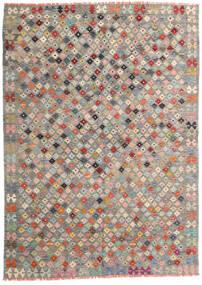 Chilim Afghan Old Style Covor 172X240 Orientale Lucrate De Mână Gri Deschis/Gri Închis (Lână, Afganistan)