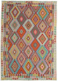 Chilim Afghan Old Style Covor 206X287 Orientale Lucrate De Mână Roșu-Închis/Albastru Turcoaz (Lână, Afganistan)