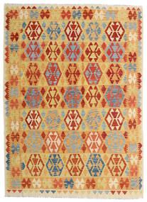 Chilim Afghan Old Style Covor 182X252 Orientale Lucrate De Mână Bej Închis/Portocaliu (Lână, Afganistan)