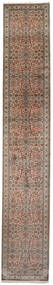 Kashmir Pură Mătase Covor 79X462 Orientale Lucrat Manual Maro Închis/Maro (Mătase, India)