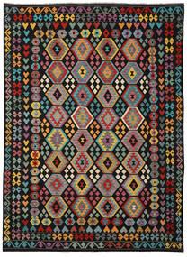 Chilim Afghan Old Style Covor 253X346 Orientale Lucrate De Mână Negru/Gri Închis Mare (Lână, Afganistan)